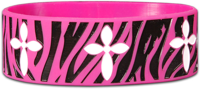 Wide Silicone Bracelet - Zebra Cross